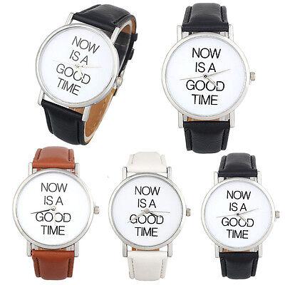 Fashion Lovers Men Women Leather Band Quartz Analog Wrist Watch mt