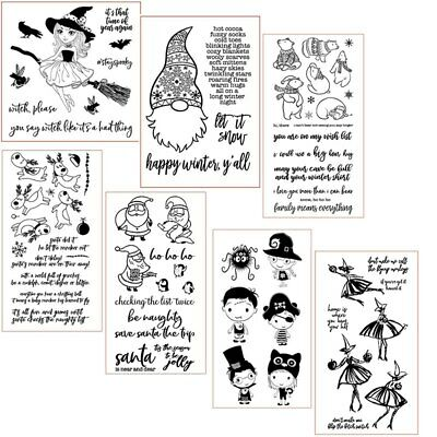 Halloween Cartoons Characters (Christmas Winter Santa Halloween Bear Clear Stamps for DIY Scrapbooking)