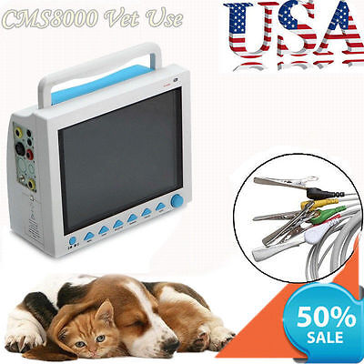 Us Seller100 Warranty Veterinary Patient Monitor Ecg Nisp Spo2 Resp Temp Pr Hr