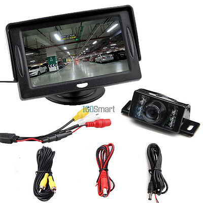 "4.3"" LCD Monitor Car Reverse Rear View Back Up Camera Wired Kit Night Vision"