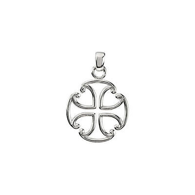 Maltese Cross In 14K White Gold