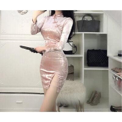 Women Hot Ladies Retro Bodycon Sexy Cheongsam Mini Dress Velvet Chinese Qipao