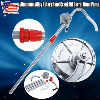Manual Hand Crank Rotary Pump Oil Fuel Transfer Suction Drum Barrel 55 Gallon