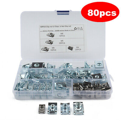 80pc Motor Bike Fairing Body Panel U Lug Nuts Speed Fastener Clips M4 M5 M6 M8