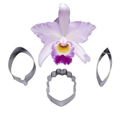 Cake Cookie Cutters StainlessSteel FOUR-C Orchids Flowers Cattleya Sugar Rolled.
