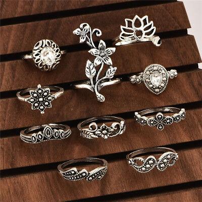 Cheap 10Pcs Boho Women Vintage Lotus Crystal Hollow Out Finger Ring Set Jewelry](Cheap Womens)