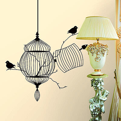 (Birds Cage Tree Branch Vinyl Art Wall Decal Sticker Kids Room Home Decor DJ8)