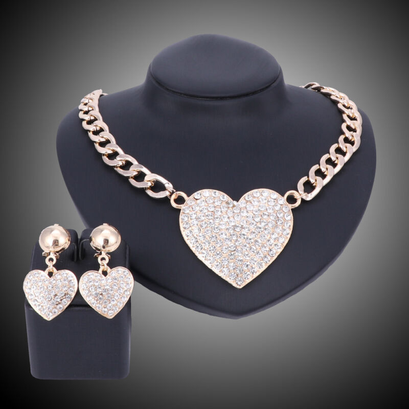 Fashion Gold Plated Crystal Heart-shaped Pendant Necklace Earring Jewelry Sets