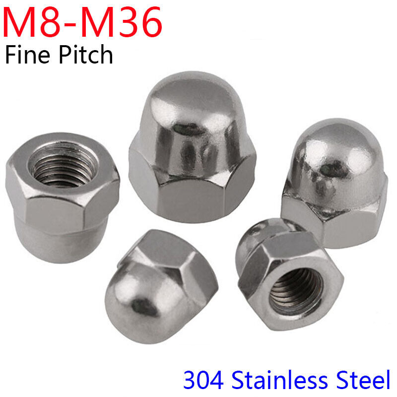 M8 M10 M12 To M36 304 Stainless Steel Fine Pitch Hexagon Cap Nuts Hex Acorn Nuts