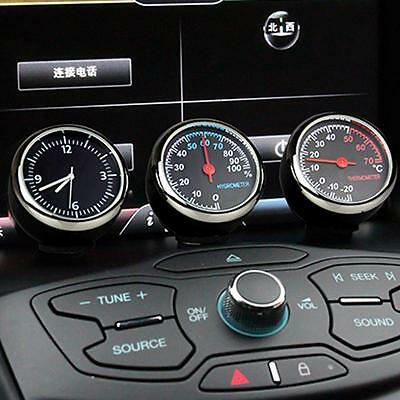 3*Car Dashboard Gauge Thermometer Humidity Quartz Clock Temperature Hygrometer