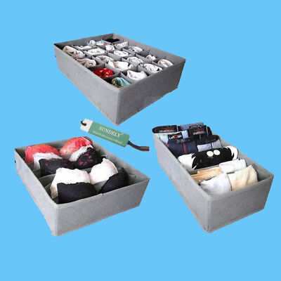 3 Pack Drawer Draw Storage Solution Neat Tidy Organisers Wardrobe Clothes