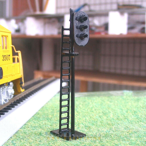 4 x HO Scale 3 aspects Railroad Signals 3 lights block signal LEDs made G/Y/R