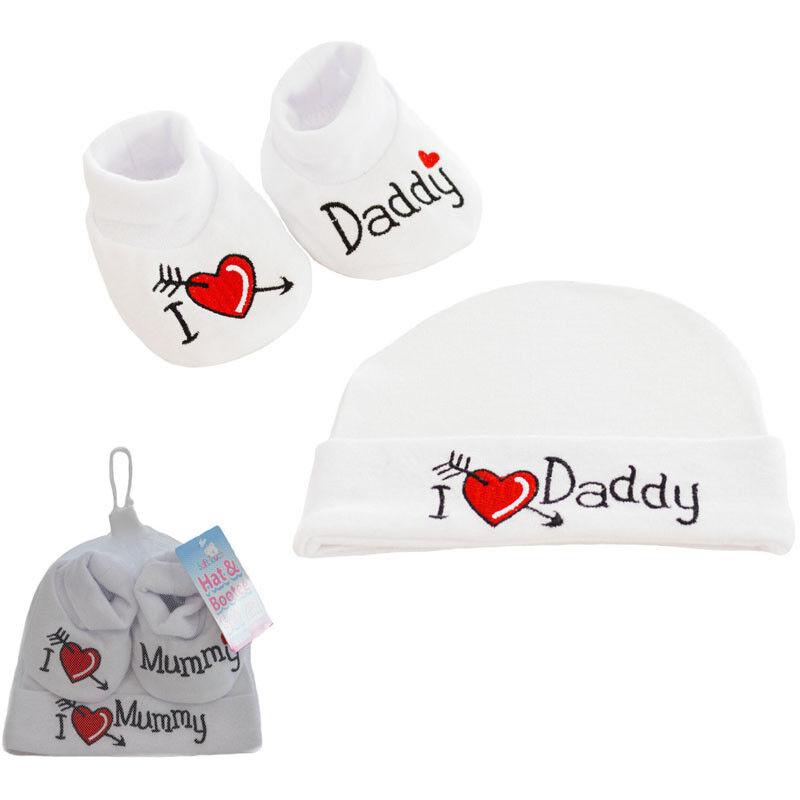 Baby Set Mütze + Schuhe Jungen Mädchen Geschenk Erstausstattung