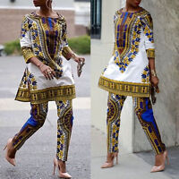 Women's African Print Dashiki Tops Party Evening Mini Dress + Pants Suit Outfits -  - ebay.co.uk