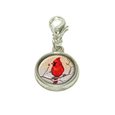 (Cardinal in Winter Dangling Bracelet Pendant Charm)
