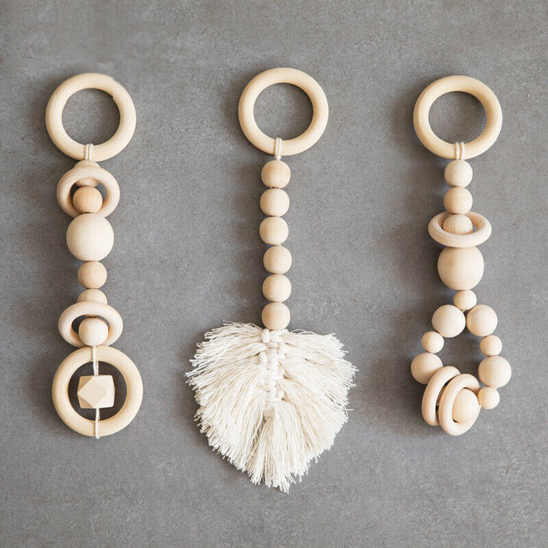Natural Wooden Beads Tassel Leaves Knitting Baby Play Gym Hanging Rattles Toys
