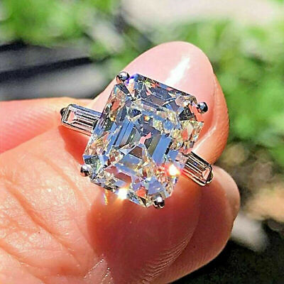 Used, 2.25 Ct Emerald Cut Lab-created Diamond 14K White Gold 3-Stone Wedding Ring for sale  Shipping to South Africa
