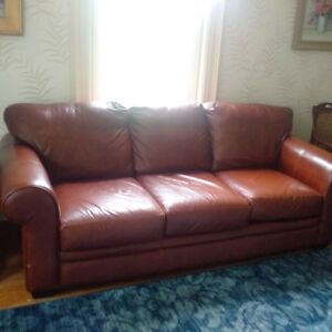 Italian leather sofa and loveseat