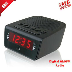 Black LED Dual Alarm Clock Radio w/ AM FM Radio Snooze Travel Portable Organizer
