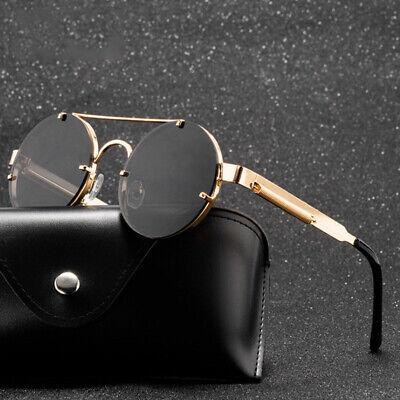 Round Steampunk Sunglasses Brand Design Men Women Metal Punk Sun glasses Vintage