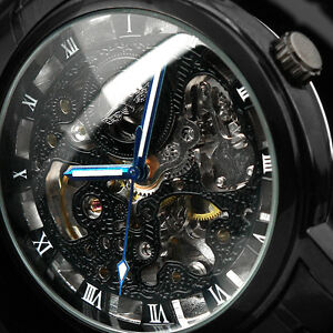 Black-Skeleton-Automatic-Mans-Steel-Auto-Self-Winding-Men-Mens-Mechanical-Watch