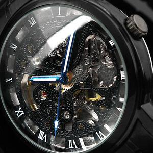 Black Skeleton Automatic Mans Steel Auto Self-Winding Men Mens Mechanical Watch