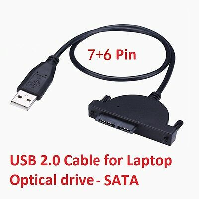 USB 2.0 Cable adaptador para SATA Portátil Unidad Óptica SuperDrive CD DVD...