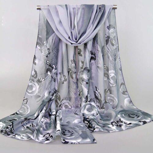 Scarf - New Fashion Women Ladies Chiffon Rose Floral Scarf  Feather Soft Wrap Long Shawl
