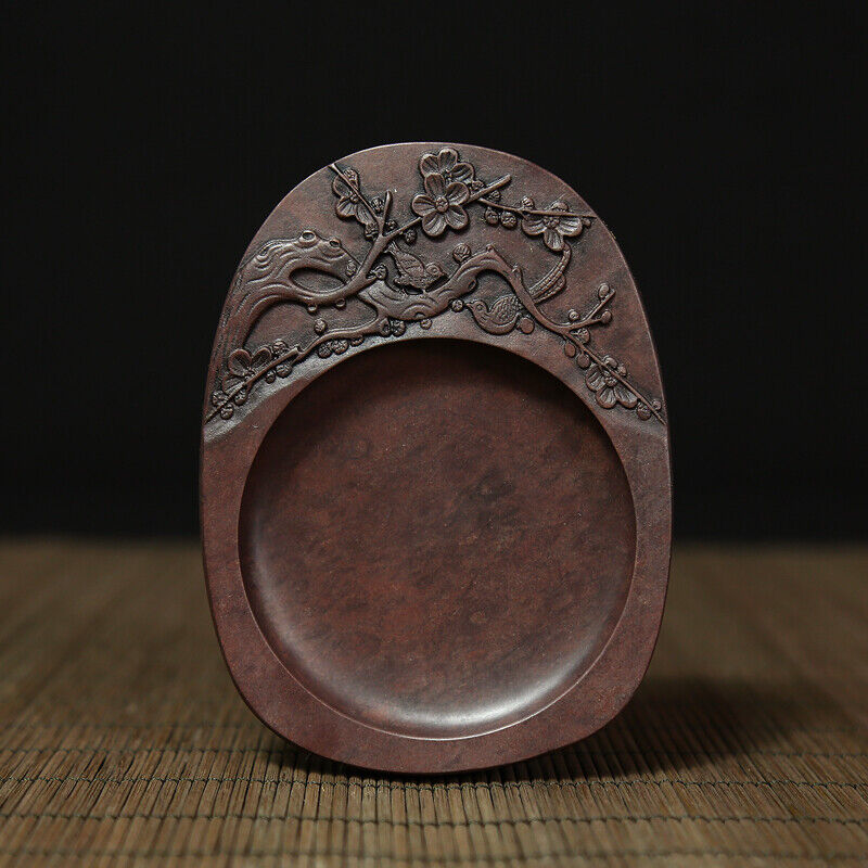 China Huizhou Ink Original Stone Hand-carved Plum Blossom Birds Inkstone Inkslab