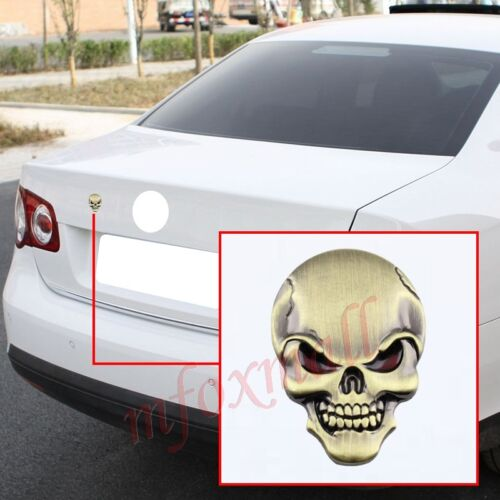 Vehicle Parts Copper Style 3D Bone Skull Head Badge Emblem Logo Decal Sticker