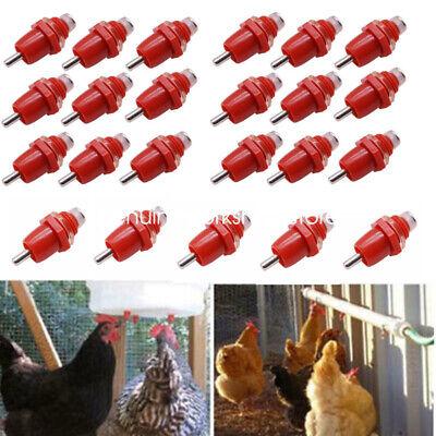 10x Chicken Drinker Feeder Water Nipple Poultry Hanging Screw Farm Duck Hen