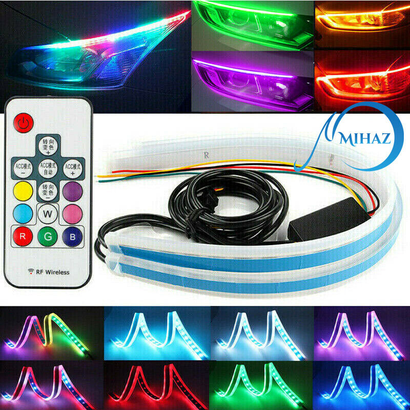 60CM RGB Slim Sequential Flexible LED DRL Turn Signal Strip Remote For Headlight