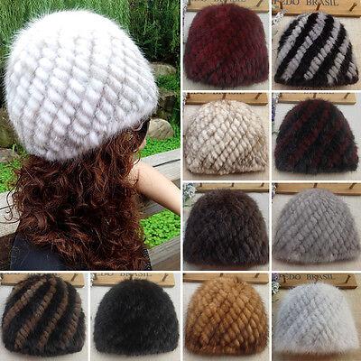 Real Mink Fur Hat Winter Warm Knitted Handmade Cap For Unisex Headgear Best