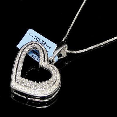 Ladies New 14k White Gold Tone Genuine Real Diamond Heart Pendant Necklace (White Gold Ladies Diamond Necklace)