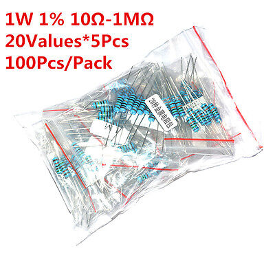 100pcs 20values 10-1m Ohm 1w 1 Metal Film Resistor Assortment Kit Assorted Set