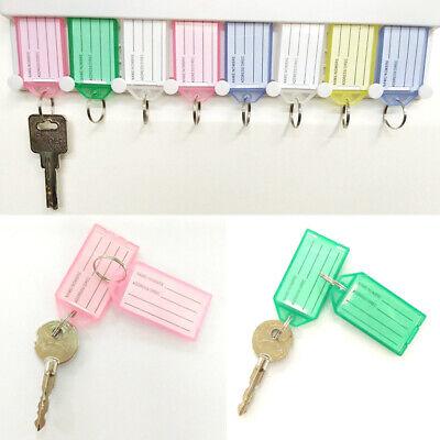 1/5pc Plastic Transparent Keychain Key Ring ID Tags Name Card Label Language Fob
