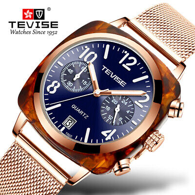 TEVISE Mens Casual Watches Mechanical Mesh Strap Analog Quartz Wristwatch T860 Analog Mechanical Casual Watch