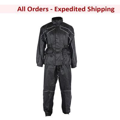 Rainsuit Motorcycle Pants - MC Motorcycle Waterproof Rain Suit Jacket & Pants Gear for Men - Black (XS-5XL)