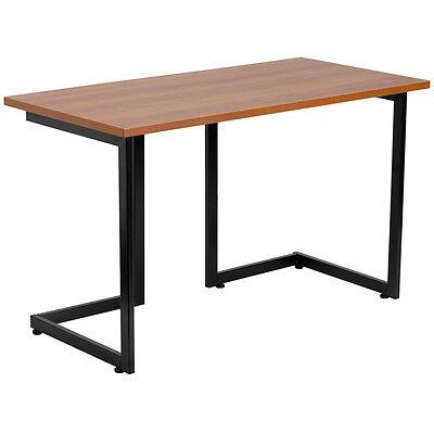 Cherry Computer Desk With Black Frame Writing Desk Rectangular Desk Top