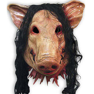 Horror Full Head Saw Pig Latex Mask Animal Cosplay Prop Halloween Party (Pig Head Mask Saw)