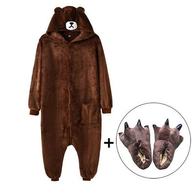 Kigurumi Bear Onesie Slippers Women Men Adult Animal Cartoon Brown Pajama Funny ](Bear Onesie Adult)