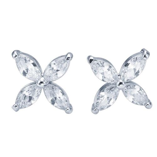 Cubic Zirconia Flower Four Fetal 925 Sterling Silver Plated Stud Earrings Bridal Earrings