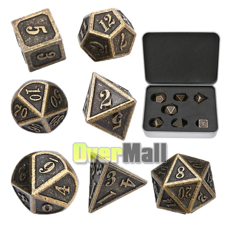 7Pcs//Set Metal Polyhedral Dice DND RPG MTG Role Playing and Tabletop Game Box