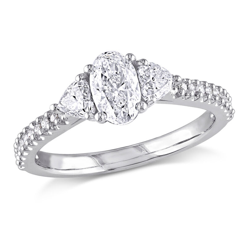 Amour 1 1/10 Ct Diamond Tw Heart Engagement Ring In 14k White Gold