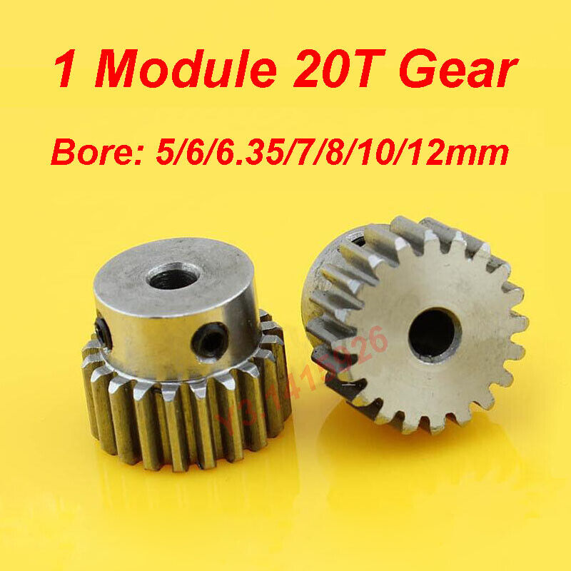 1 Module 20T Gear Bore 5/6/6.35/7/8/10/12mm Steel Gear Rack transmission group