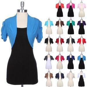 Plain-Shirred-Ruched-Short-Sleeve-Cotton-Bolero-Top-Crop-Shrug-Jacket-Cardigan