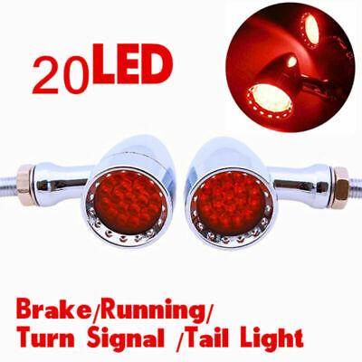 2PCS RED LED CHROME HOUSING STOP BRAKERUNNING TURN SIGNAL TAIL LIGHT