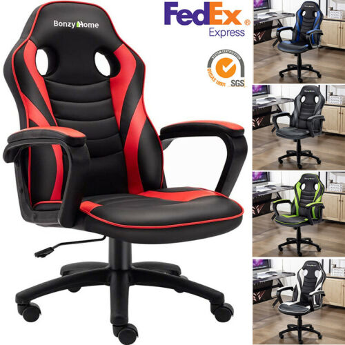 Computer Games - ERGONOMIC GAMING RACING CHAIR COMPUTER DESK SWIVEL OFFICE EXECUTIVE PU LEATHER