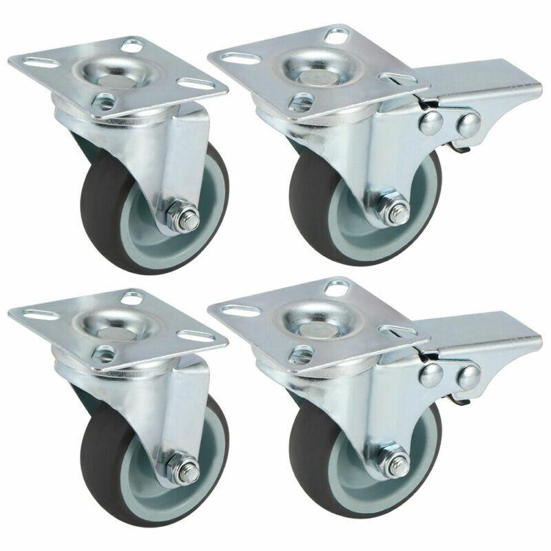 4 Stück Transportrollen Möbelrollen Lenkrollen mit Bremse 50 mm