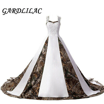 2020 Camouflage Wedding Dresses Satin White Camo Ball Gown Formal for Wedding